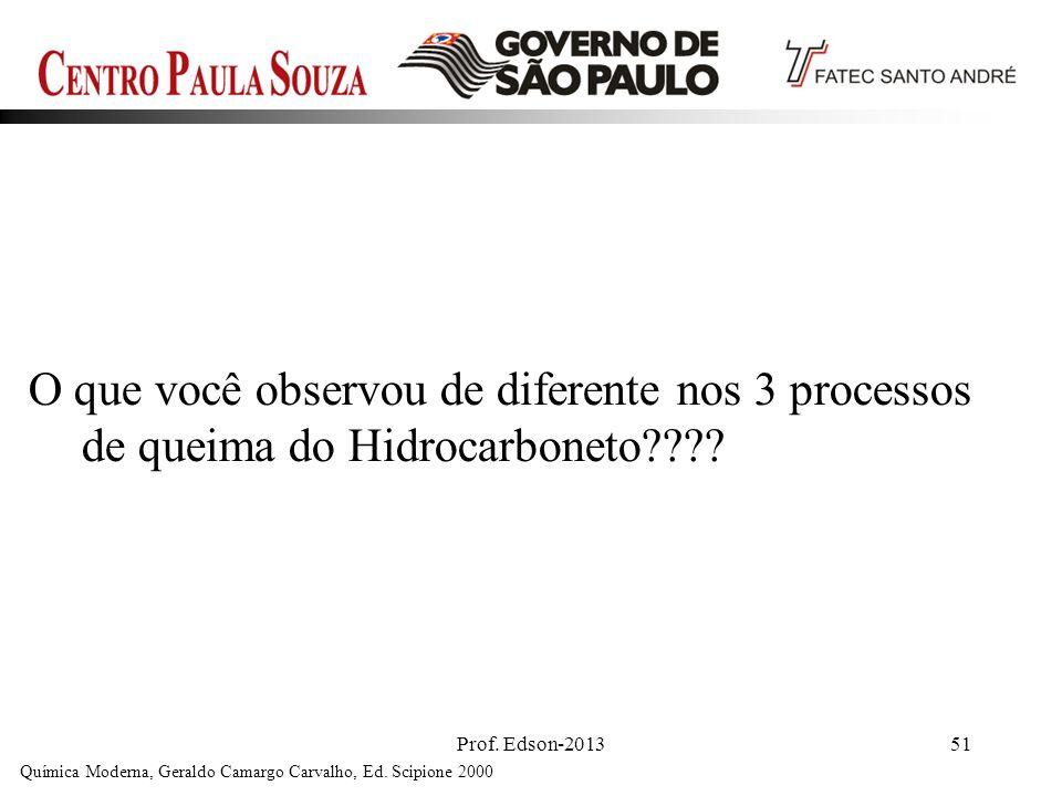 Prof. Edson-201351 O que você observou de diferente nos 3 processos de queima do Hidrocarboneto???? Química Moderna, Geraldo Camargo Carvalho, Ed. Sci