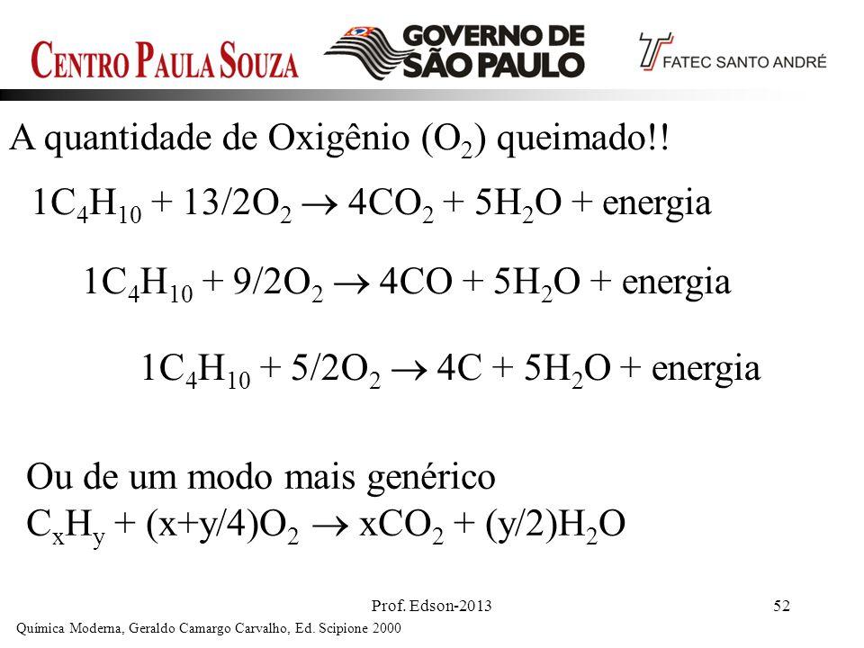 Prof. Edson-201352 A quantidade de Oxigênio (O 2 ) queimado!! Química Moderna, Geraldo Camargo Carvalho, Ed. Scipione 2000 1C 4 H 10 + 13/2O 2 4CO 2 +