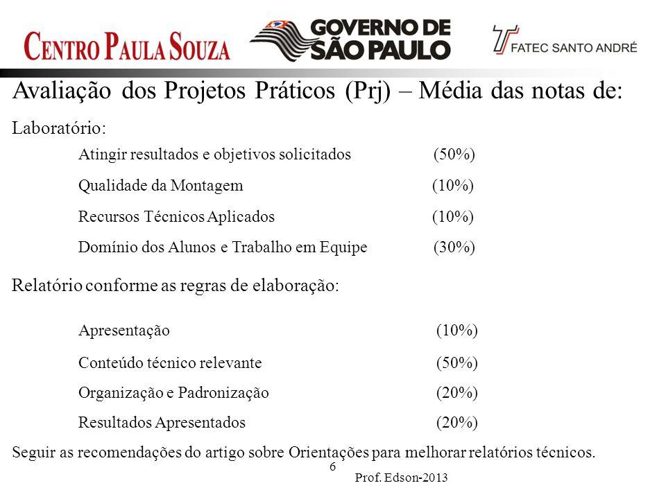 Prof. Edson-2013 6 Avaliação dos Projetos Práticos (Prj) – Média das notas de: Laboratório: Atingir resultados e objetivos solicitados (50%) Qualidade