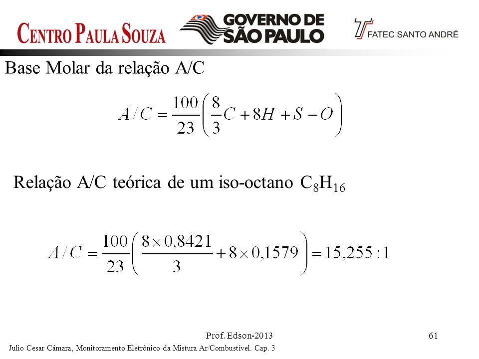Prof. Edson-201361 Base Molar da relação A/C Julio Cesar Câmara, Monitoramento Eletrônico da Mistura Ar/Combustível. Cap. 3 Relação A/C teórica de um