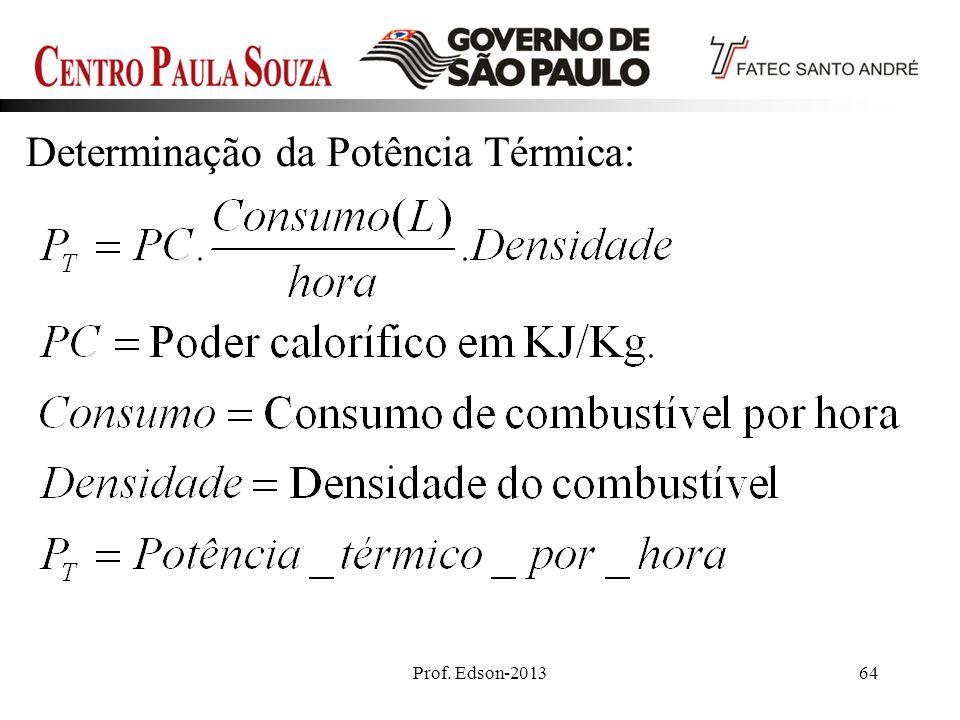 Prof. Edson-201364 Determinação da Potência Térmica: