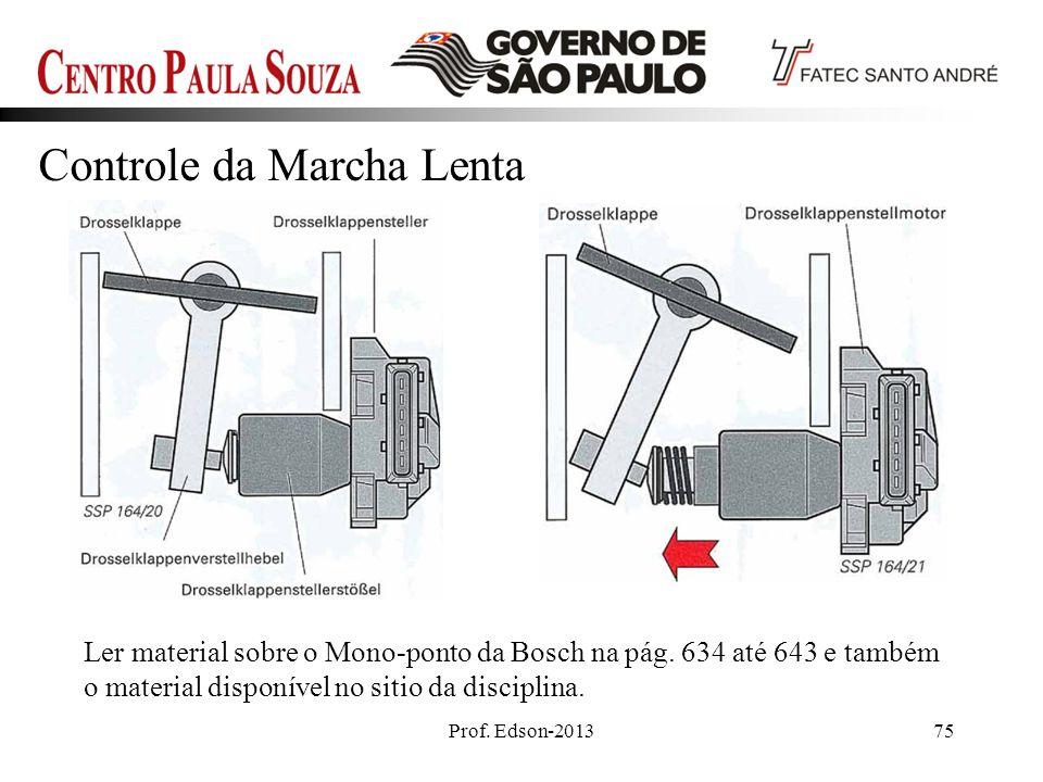 Prof. Edson-201375 Ler material sobre o Mono-ponto da Bosch na pág. 634 até 643 e também o material disponível no sitio da disciplina. Controle da Mar