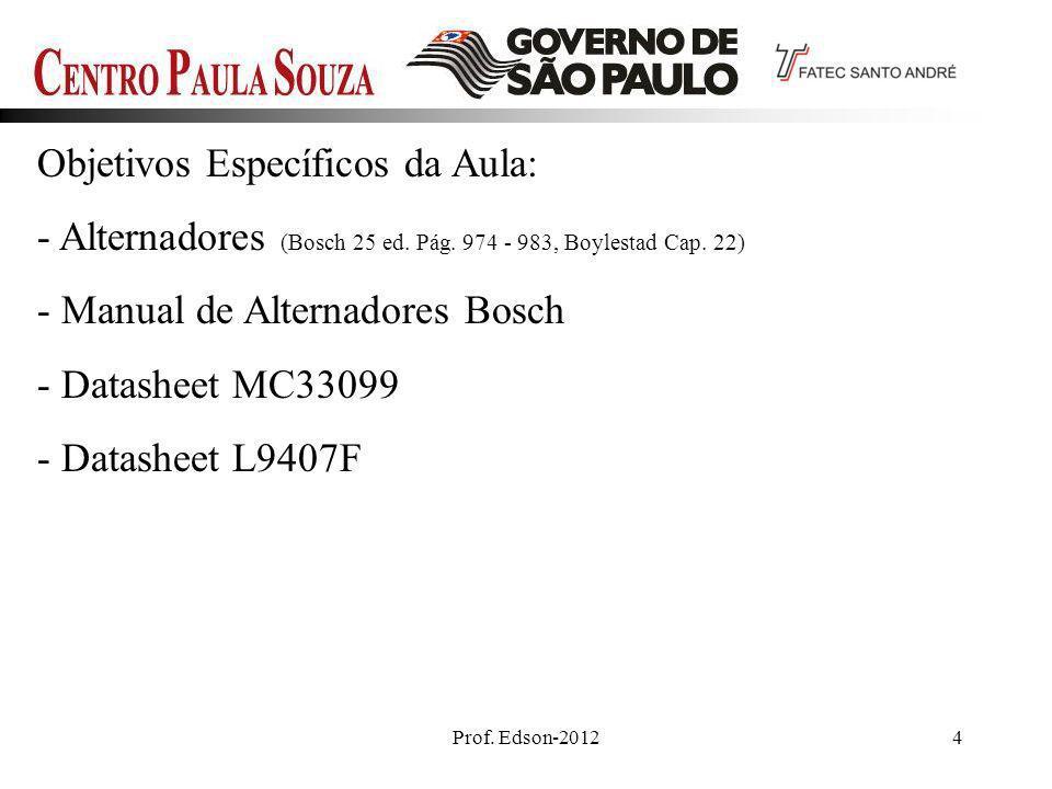 Prof. Edson-20124 Objetivos Específicos da Aula: - Alternadores (Bosch 25 ed. Pág. 974 - 983, Boylestad Cap. 22) - Manual de Alternadores Bosch - Data