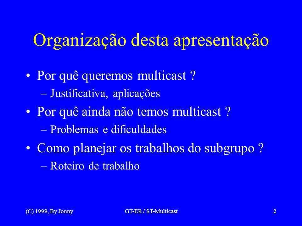 (C) 1999, By JonnyGT-ER / ST-Multicast3 IP multicast: Vantagens Um novo tipo de aplicação: multiponto –Difusão (broadcasting) –Sistemas distribuídos –Tolerância a falhas Economia de largura de faixa Escalabilidade –Contra exemplos: Realvideo, Web Push