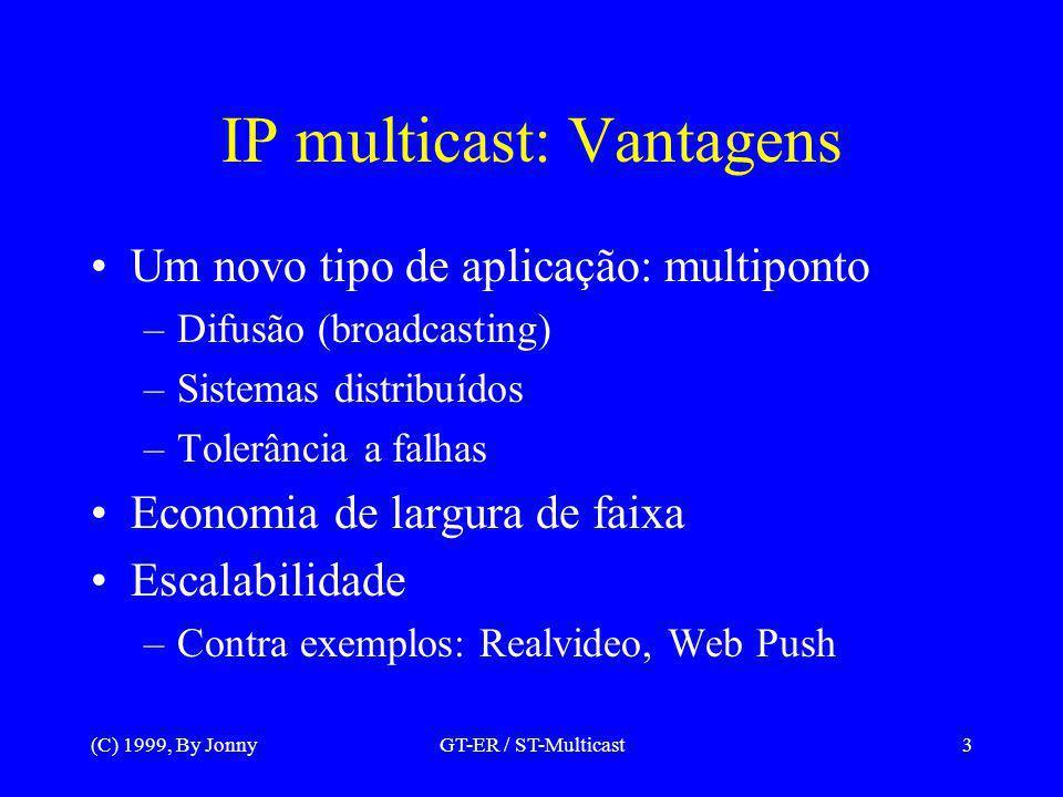 (C) 1999, By JonnyGT-ER / ST-Multicast4 Aplicações atuais Tempo real: –Conferência e difusão: Áudio, vídeo, texto, etc.
