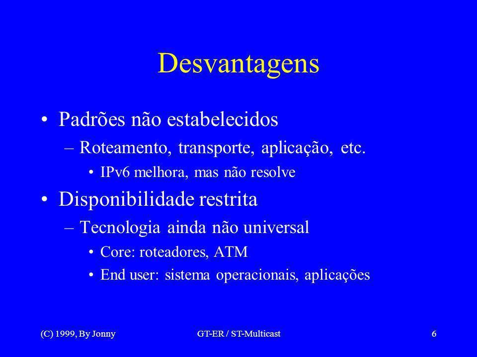 (C) 1999, By JonnyGT-ER / ST-Multicast6 Desvantagens Padrões não estabelecidos –Roteamento, transporte, aplicação, etc.