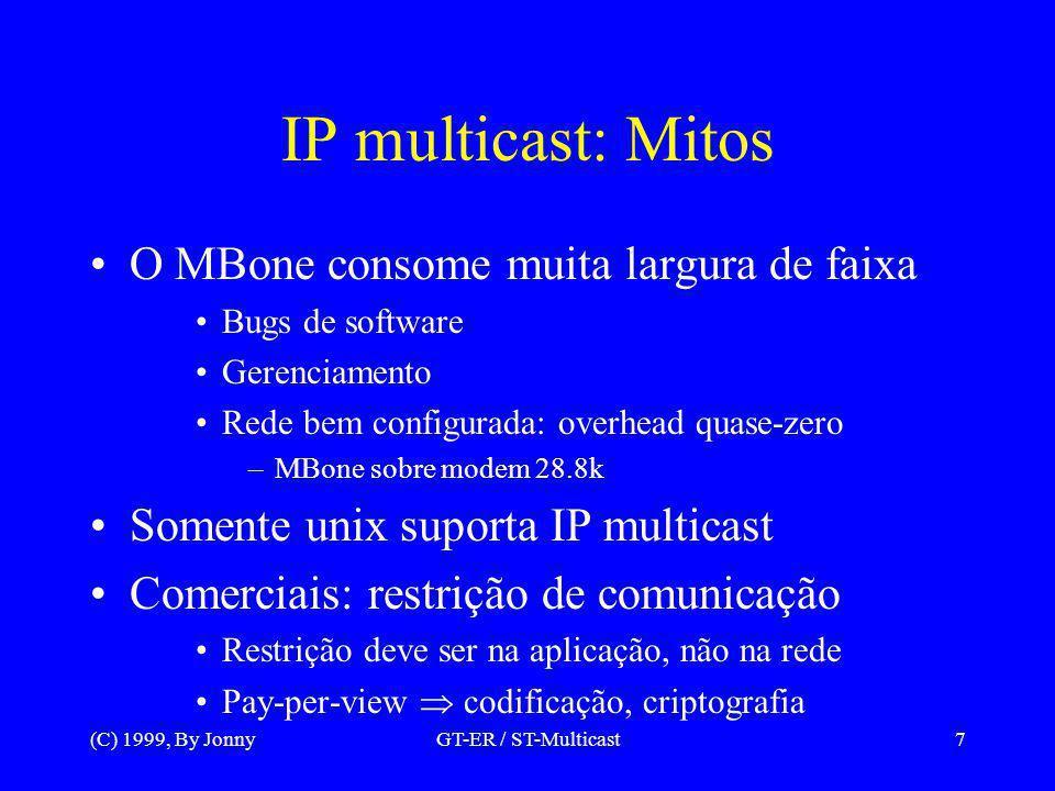 (C) 1999, By JonnyGT-ER / ST-Multicast8 IP multicast: Fatos –Controle de fluxo ineficiente Intrafluxo aplicações tempo real –Controle por taxa, apenas no transmissor –Fluxos multicamadas Interfluxo atrapalha outros fluxos –Problema básico do IP, principalmente UDP/IP –Propostas: QoS, reservas de recursos, etc.
