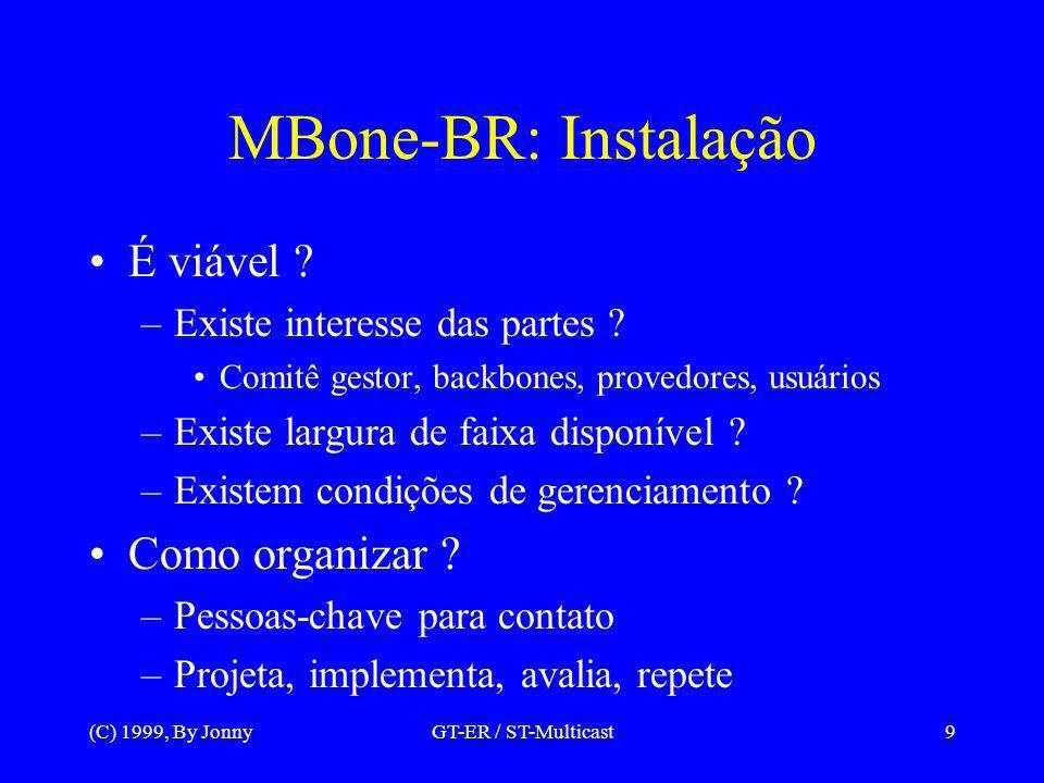 (C) 1999, By JonnyGT-ER / ST-Multicast10 MBone-BR: Instalação Comecar com tecnologias conhecidas DVMRP/PIM Sugestão: mrouted em estações Unix Manter monitoração constante Mapa da malha de túneis Disponibilizar gráficos com estatísticas –Tuneis principais, e canais portadores –Grupos em trânsito
