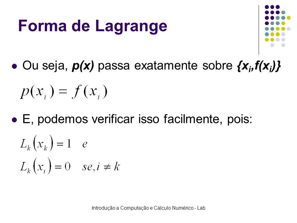 Introdução a Computação e Cálculo Numérico - Lab Forma de Lagrange Ou seja, p(x) passa exatamente sobre {x i,f(x i )} E, podemos verificar isso facilm