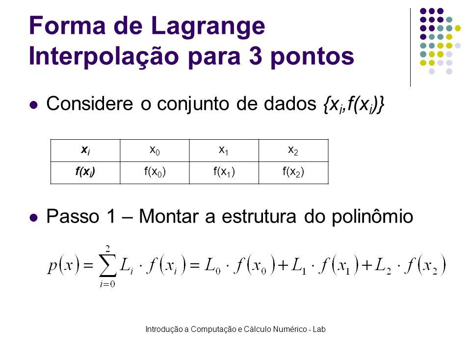 Introdução a Computação e Cálculo Numérico - Lab Forma de Lagrange Interpolação para 3 pontos Considere o conjunto de dados {x i,f(x i )} Passo 1 – Mo