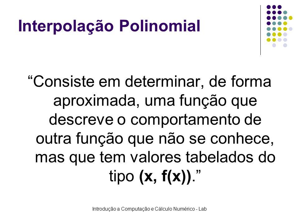 Introdução a Computação e Cálculo Numérico - Lab Interpolação Polinomial Consiste em determinar, de forma aproximada, uma função que descreve o compor