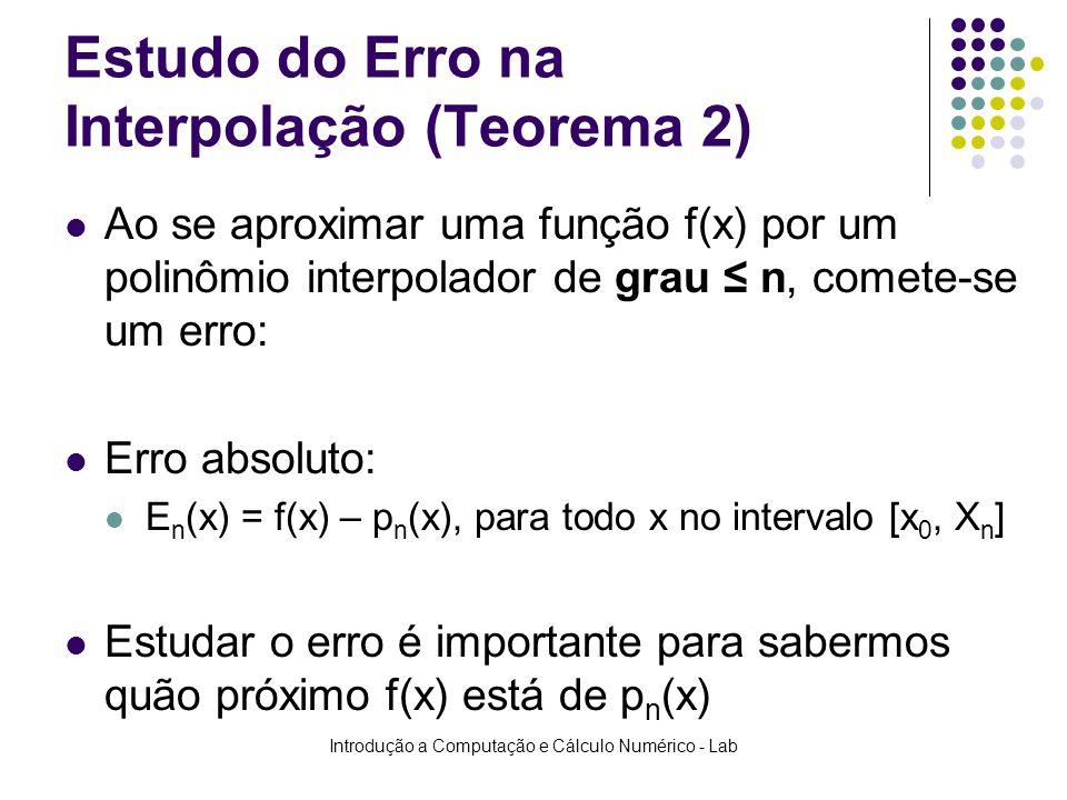 Introdução a Computação e Cálculo Numérico - Lab Estudo do Erro na Interpolação (Teorema 2) Ao se aproximar uma função f(x) por um polinômio interpola