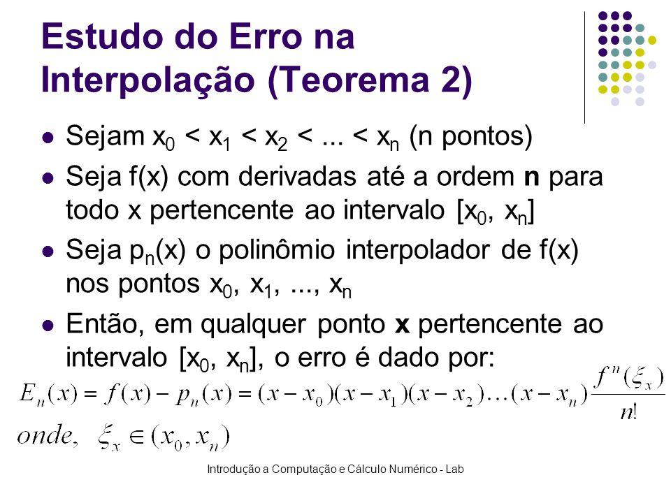 Introdução a Computação e Cálculo Numérico - Lab Estudo do Erro na Interpolação (Teorema 2) Sejam x 0 < x 1 < x 2 <... < x n (n pontos) Seja f(x) com