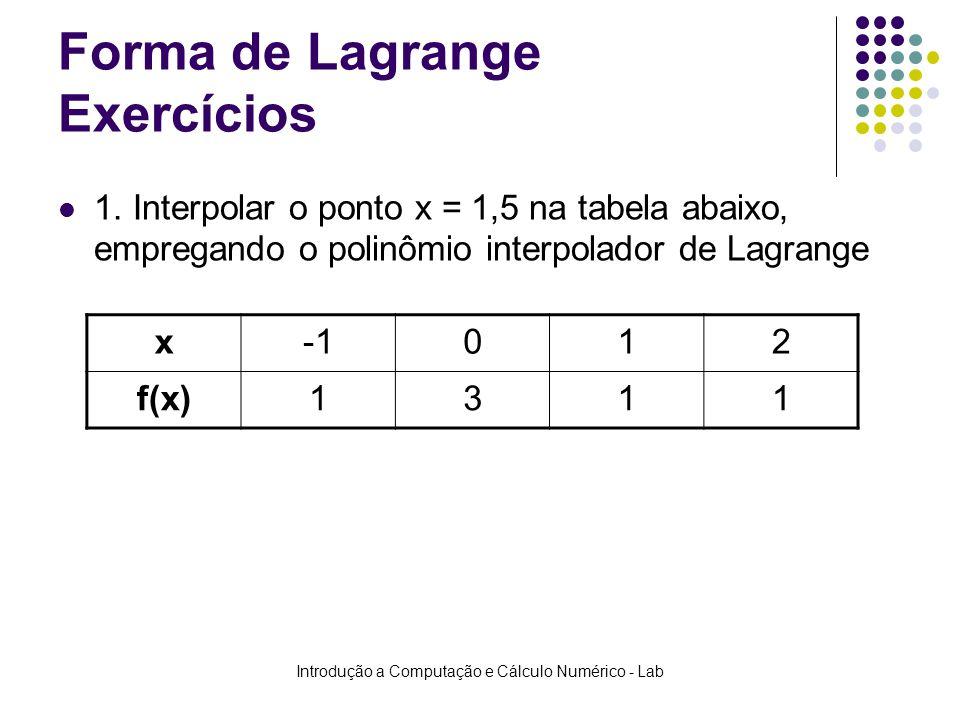 Introdução a Computação e Cálculo Numérico - Lab Forma de Lagrange Exercícios 1. Interpolar o ponto x = 1,5 na tabela abaixo, empregando o polinômio i