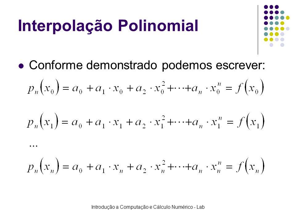 Introdução a Computação e Cálculo Numérico - Lab Interpolação Polinomial Conforme demonstrado podemos escrever:...