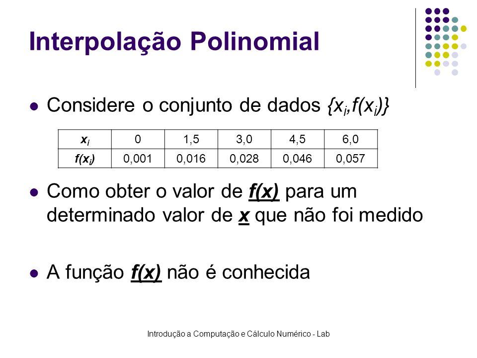 Introdução a Computação e Cálculo Numérico - Lab Interpolação Polinomial Considere o conjunto de dados {x i,f(x i )} Como obter o valor de f(x) para u