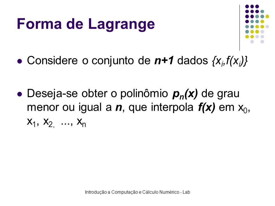Introdução a Computação e Cálculo Numérico - Lab Forma de Lagrange Considere o conjunto de n+1 dados {x i,f(x i )} Deseja-se obter o polinômio p n (x)
