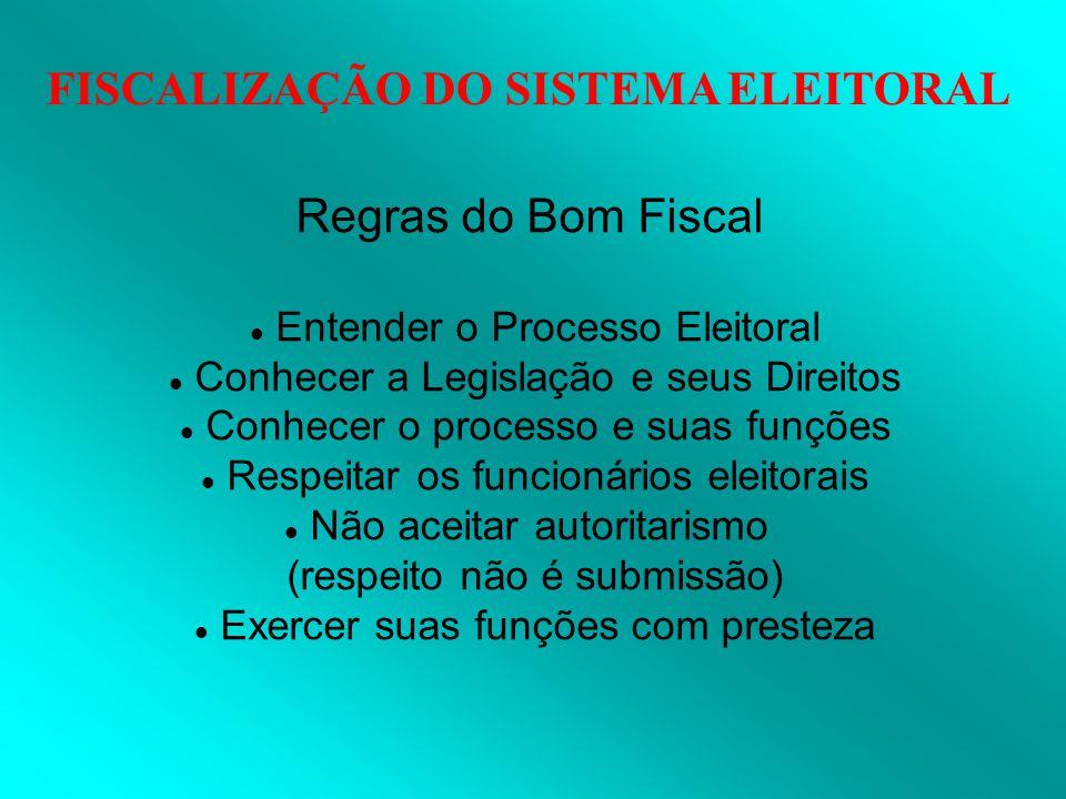 FISCALIZAÇÃO DO SISTEMA ELEITORAL Regras do Bom Fiscal Entender o Processo Eleitoral Conhecer a Legislação e seus Direitos Conhecer o processo e suas