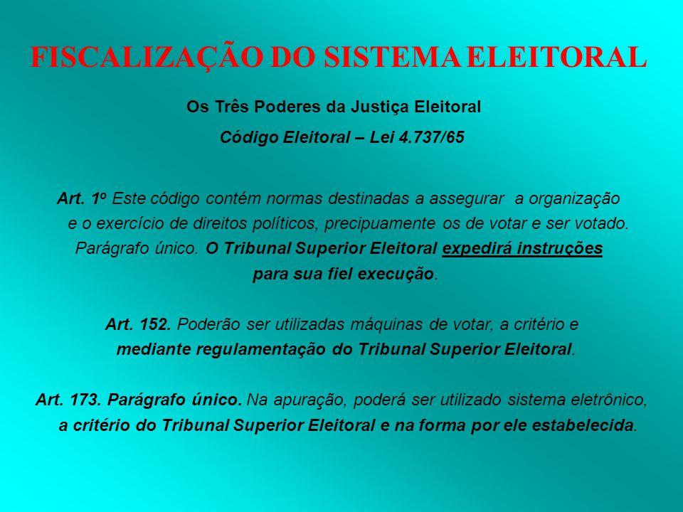 FISCALIZAÇÃO DO SISTEMA ELEITORAL Os Três Poderes da Justiça Eleitoral Código Eleitoral – Lei 4.737/65 Art. 1 o Este código contém normas destinadas a