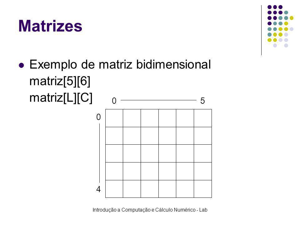 Introdução a Computação e Cálculo Numérico - Lab Matrizes Exemplo de matriz bidimensional matriz[5][6] matriz[L][C] 0 05 4