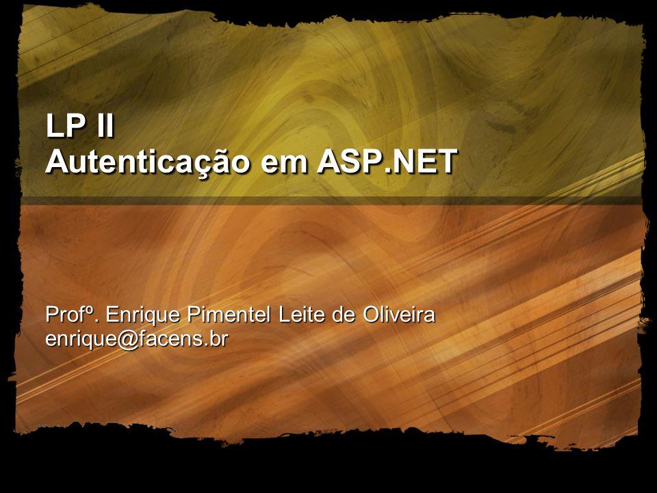LP II Autenticação em ASP.NET Profº. Enrique Pimentel Leite de Oliveira enrique@facens.br
