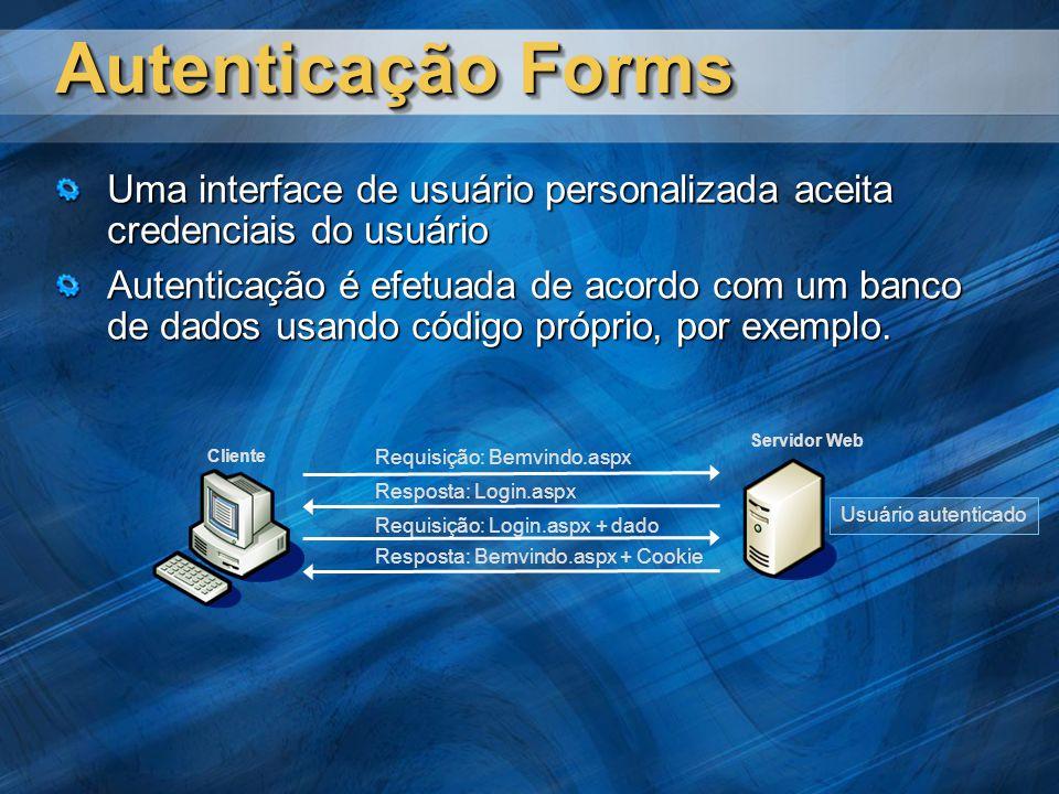 Autenticação Forms Uma interface de usuário personalizada aceita credenciais do usuário Autenticação é efetuada de acordo com um banco de dados usando código próprio, por exemplo.