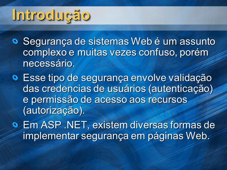 IntroduçãoIntrodução Segurança de sistemas Web é um assunto complexo e muitas vezes confuso, porém necessário.