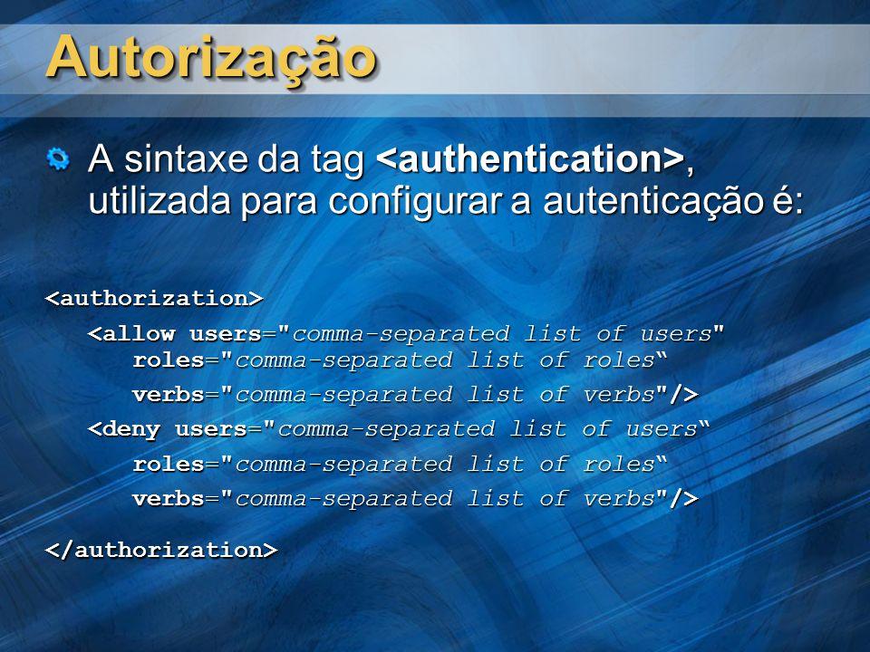AutorizaçãoAutorização A sintaxe da tag, utilizada para configurar a autenticação é: <authorization> <allow users= comma-separated list of users roles= comma-separated list of roles verbs= comma-separated list of verbs /> <deny users= comma-separated list of users roles= comma-separated list of roles verbs= comma-separated list of verbs /> </authorization>