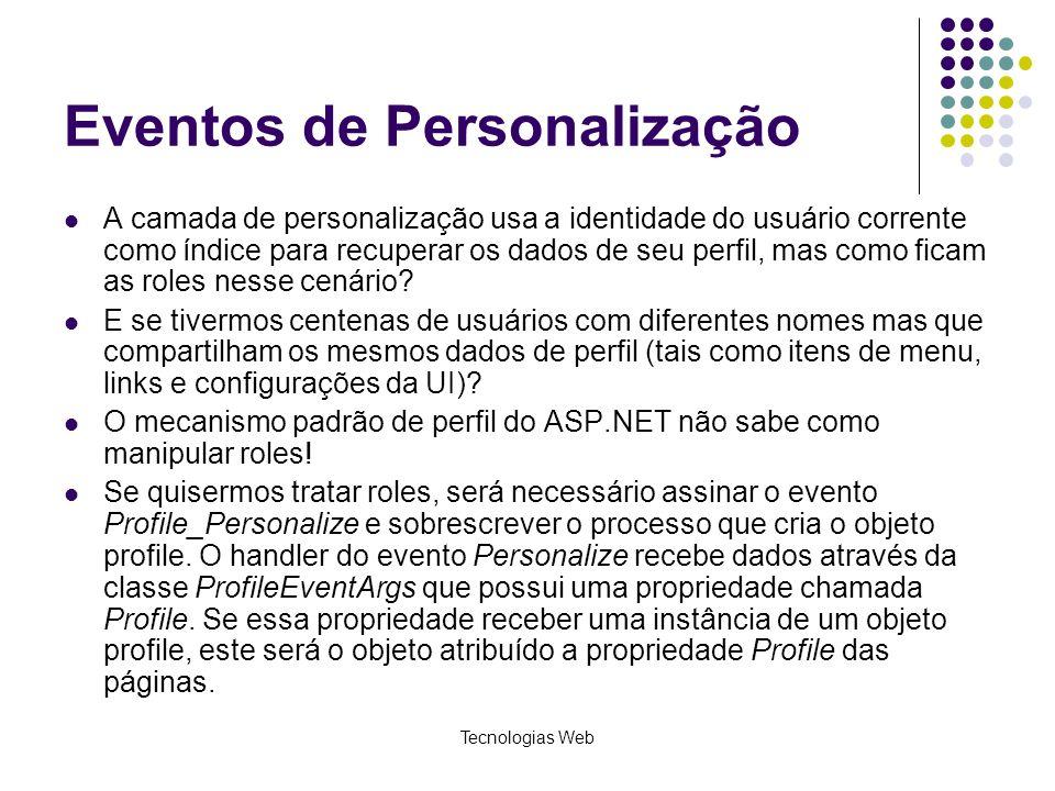 Tecnologias Web Eventos de Personalização A camada de personalização usa a identidade do usuário corrente como índice para recuperar os dados de seu p