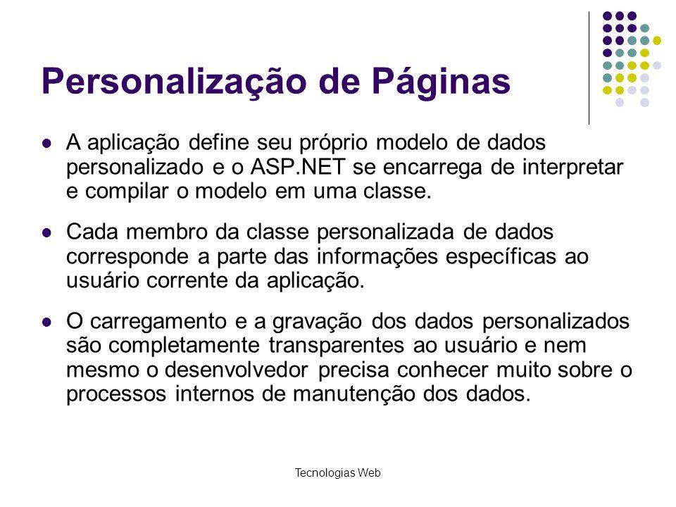 Tecnologias Web Personalização de Páginas A aplicação define seu próprio modelo de dados personalizado e o ASP.NET se encarrega de interpretar e compi