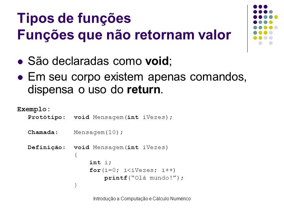 Introdução a Computação e Cálculo Numérico Tipos de funções Funções que não retornam valor São declaradas como void; Em seu corpo existem apenas coman