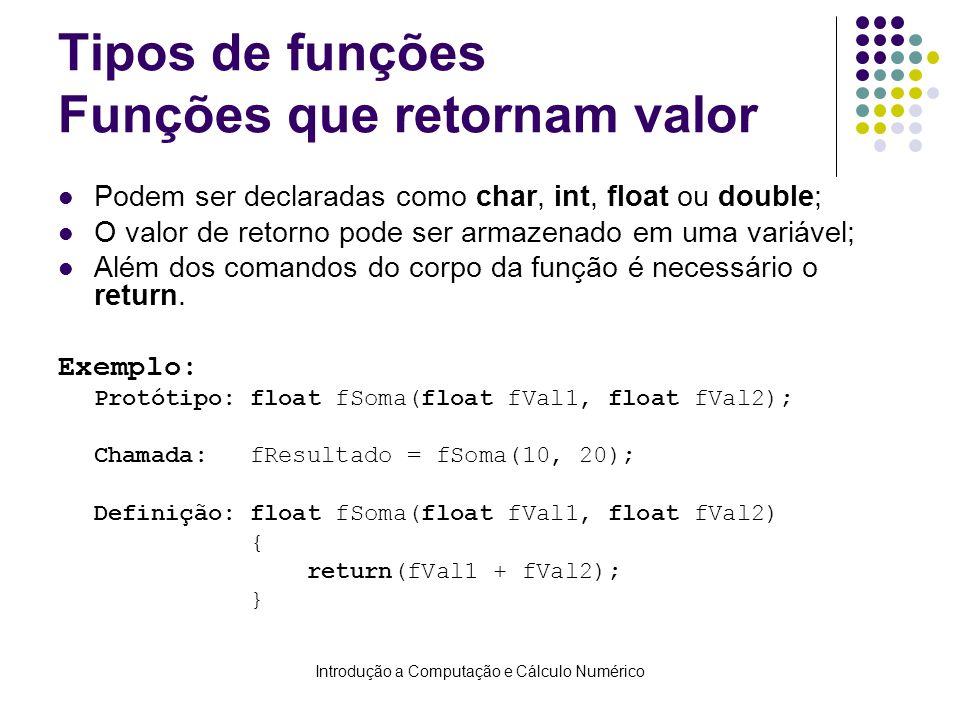 Introdução a Computação e Cálculo Numérico Tipos de funções Funções que retornam valor Podem ser declaradas como char, int, float ou double; O valor d