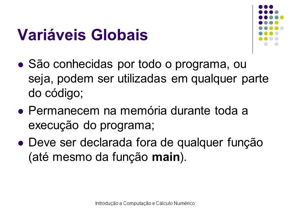 Introdução a Computação e Cálculo Numérico Variáveis Globais São conhecidas por todo o programa, ou seja, podem ser utilizadas em qualquer parte do có
