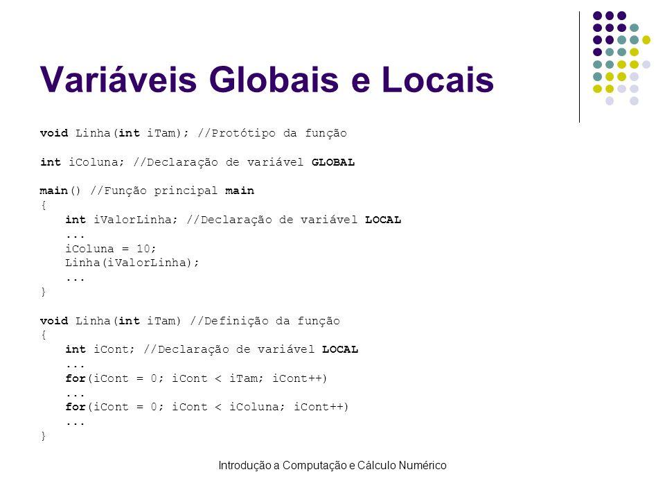 Introdução a Computação e Cálculo Numérico Variáveis Globais e Locais void Linha(int iTam); //Protótipo da função int iColuna; //Declaração de variáve
