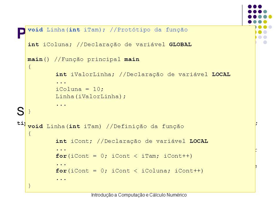 Introdução a Computação e Cálculo Numérico Protótipo de funções Fornece ao compilador a descrição de uma função que será definida posteriormente no pr
