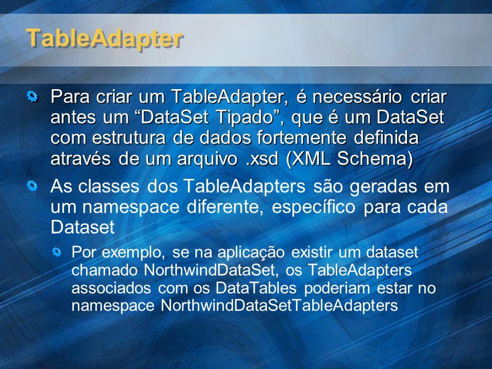 TableAdapter Para criar um TableAdapter, é necessário criar antes um DataSet Tipado, que é um DataSet com estrutura de dados fortemente definida através de um arquivo.xsd (XML Schema) As classes dos TableAdapters são geradas em um namespace diferente, específico para cada Dataset Por exemplo, se na aplicação existir um dataset chamado NorthwindDataSet, os TableAdapters associados com os DataTables poderiam estar no namespace NorthwindDataSetTableAdapters
