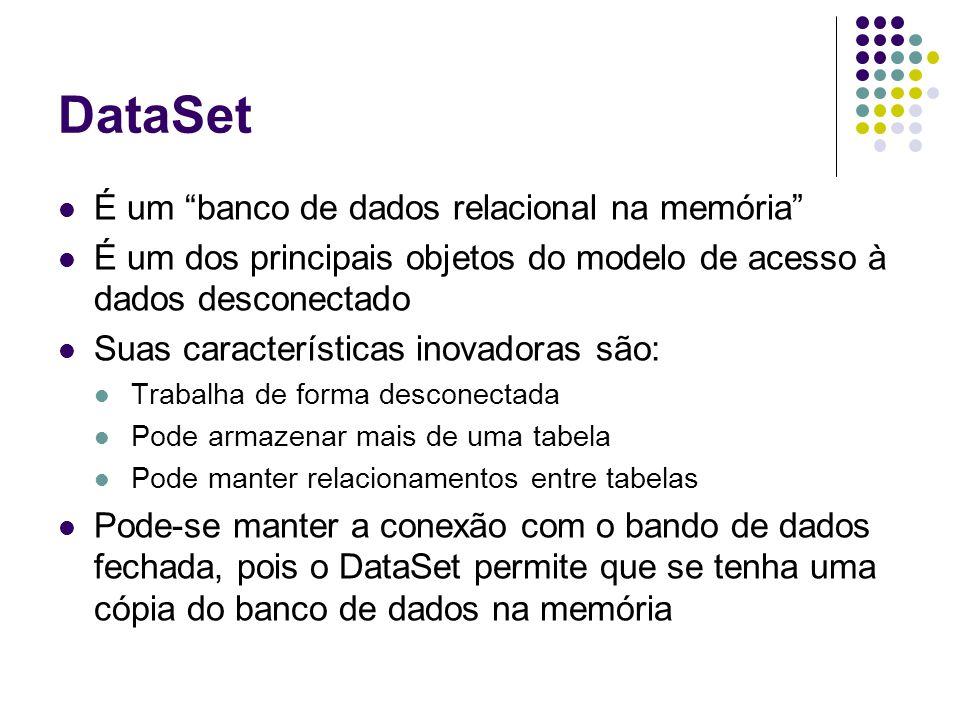 DataSet É um banco de dados relacional na memória É um dos principais objetos do modelo de acesso à dados desconectado Suas características inovadoras