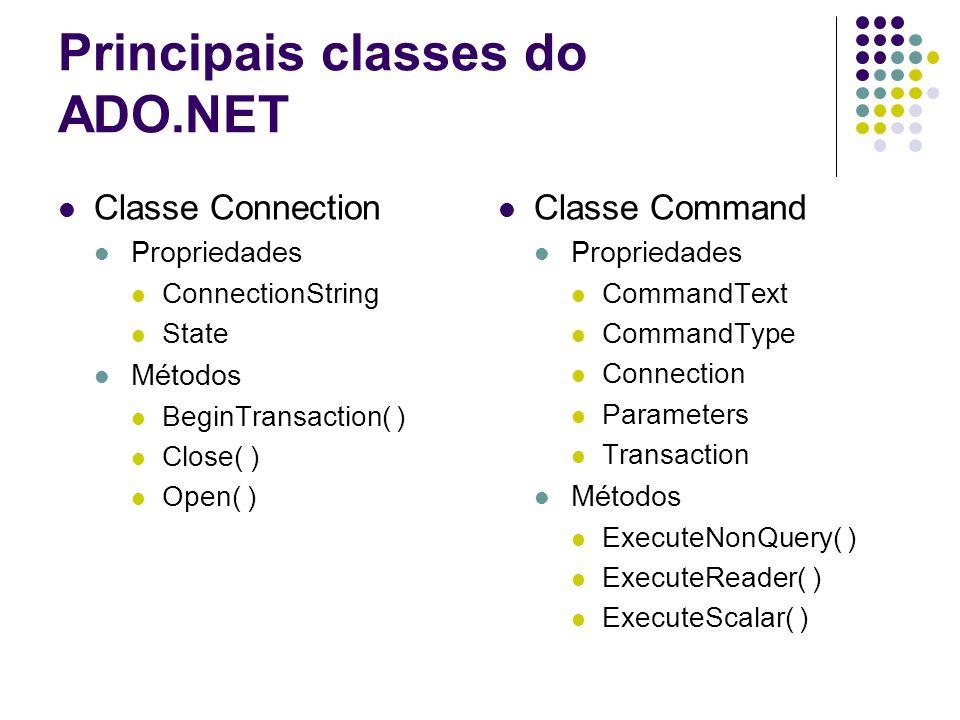 Principais classes do ADO.NET Classe Connection Propriedades ConnectionString State Métodos BeginTransaction( ) Close( ) Open( ) Classe Command Propri