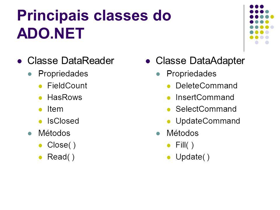 Principais classes do ADO.NET Classe DataReader Propriedades FieldCount HasRows Item IsClosed Métodos Close( ) Read( ) Classe DataAdapter Propriedades
