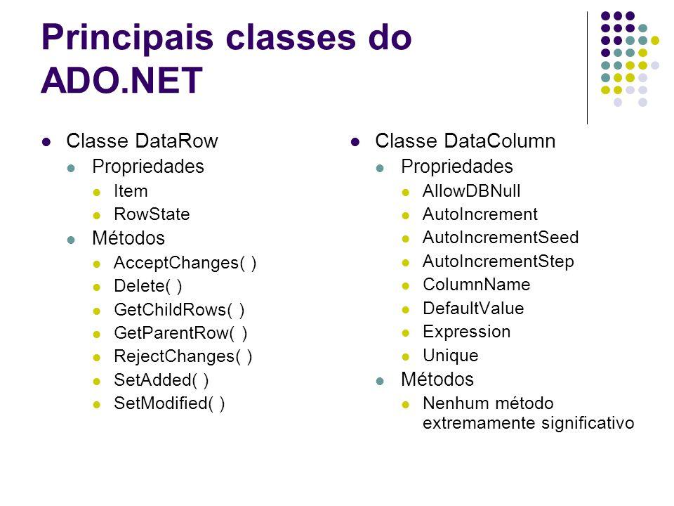 Principais classes do ADO.NET Classe DataRow Propriedades Item RowState Métodos AcceptChanges( ) Delete( ) GetChildRows( ) GetParentRow( ) RejectChang
