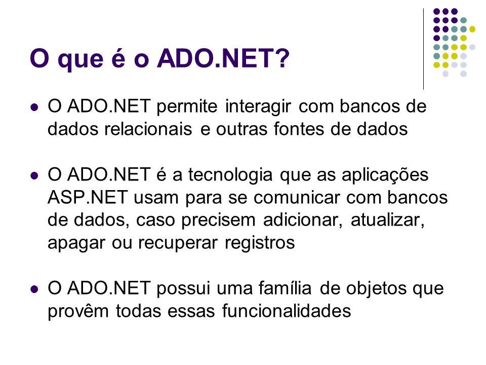 Estrutura do ADO.NET O ADO.NET é formado por um conjunto de objetos que podem ser divididos em dois grupos: Aqueles que são usados para armazenar e gerenciar dados, tais como DataSet, DataTable, DataRow e DataRelation Aqueles que são usados para conectar à uma fonte de dados específica, tais como Connection, Command, DataReader e DataAdapter Existem vários conjuntos de objetos para conectar à diversas fontes de dados.
