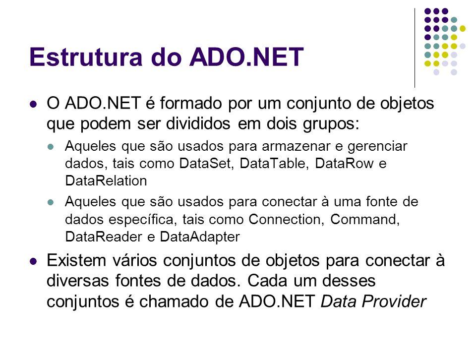 Principais classes do ADO.NET Classe Connection Propriedades ConnectionString State Métodos BeginTransaction( ) Close( ) Open( ) Classe Command Propriedades CommandText CommandType Connection Parameters Transaction Métodos ExecuteNonQuery( ) ExecuteReader( ) ExecuteScalar( )