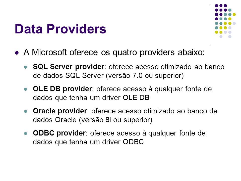 Os objetos dos ADO.NET Data Providers SQL Server Provider OLE DB Provider Oracle Provider ODBC Provider ConnectionSqlConnectionOleDbConnectionOracleConnectionOdbcConnection CommandSqlCommandOleDbCommandOracleCommandOdbcCommand DataReaderSqlDataReaderOleDbDataReaderOracleDataReaderOdbcDataReader DataAdapterSqlDataAdapterOleDbDataAdapterOracleDataAdapterOdbcDataAdapter