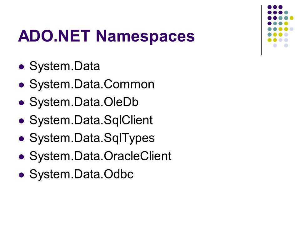 ADO.NET Namespaces System.Data System.Data.Common System.Data.OleDb System.Data.SqlClient System.Data.SqlTypes System.Data.OracleClient System.Data.Od