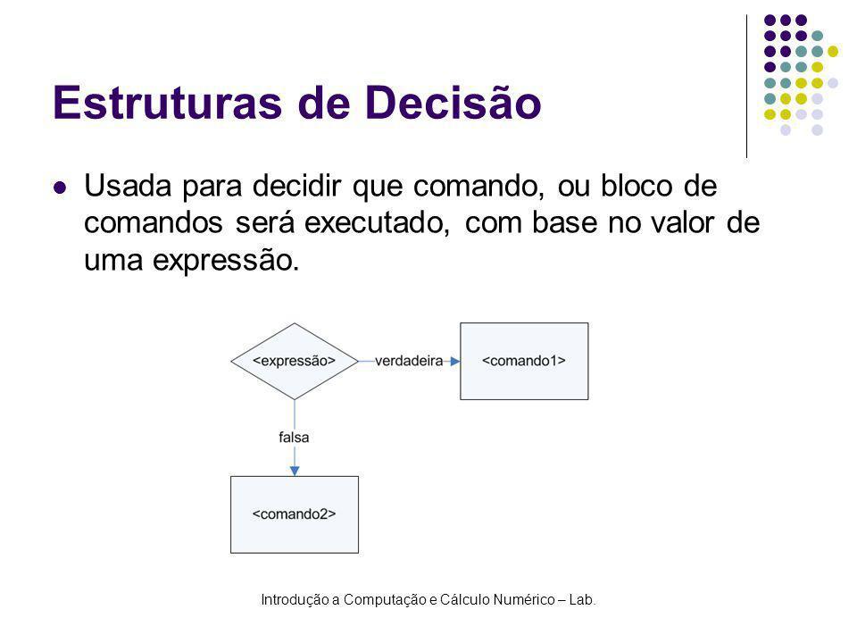 Introdução a Computação e Cálculo Numérico – Lab. Estruturas de Decisão Usada para decidir que comando, ou bloco de comandos será executado, com base