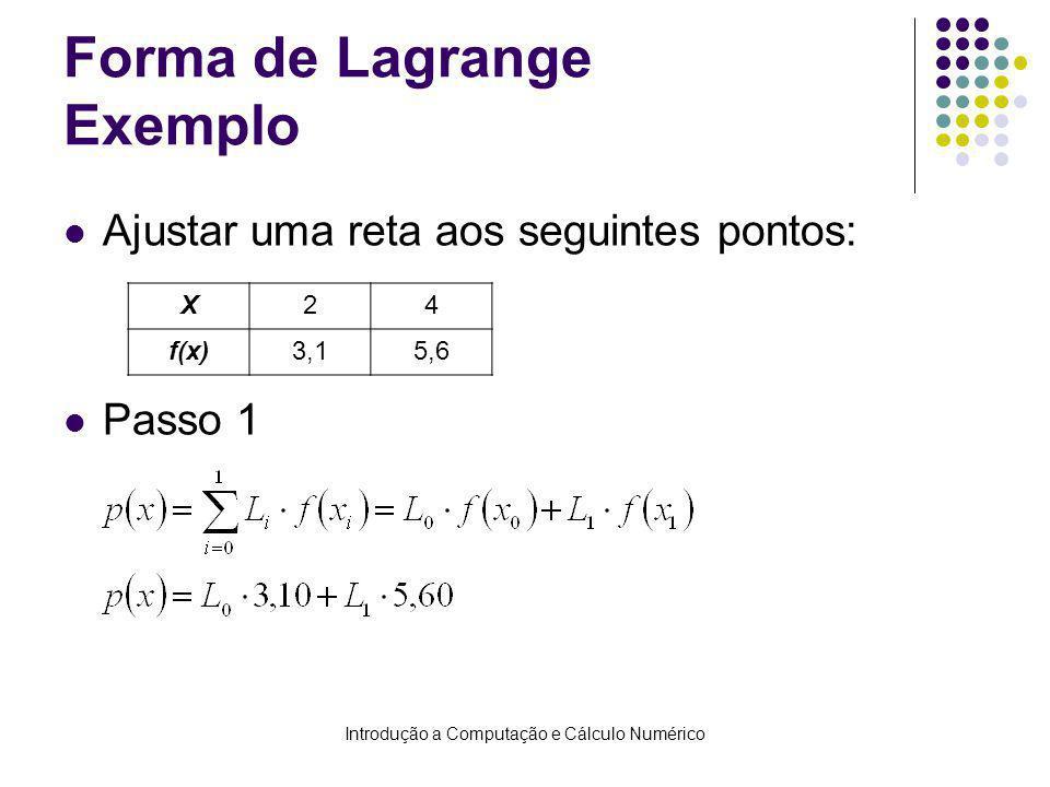 Introdução a Computação e Cálculo Numérico Forma de Lagrange Exemplo Ajustar uma reta aos seguintes pontos: Passo 1 X24 f(x)3,15,6