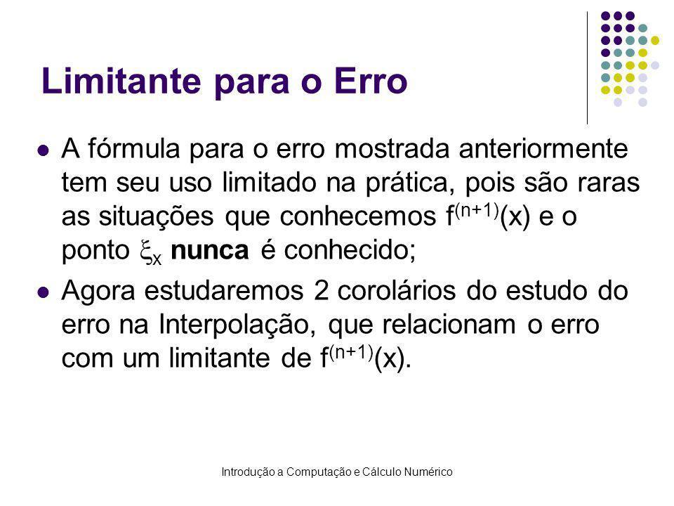 Introdução a Computação e Cálculo Numérico Limitante para o Erro A fórmula para o erro mostrada anteriormente tem seu uso limitado na prática, pois são raras as situações que conhecemos f (n+1) (x) e o ponto x nunca é conhecido; Agora estudaremos 2 corolários do estudo do erro na Interpolação, que relacionam o erro com um limitante de f (n+1) (x).