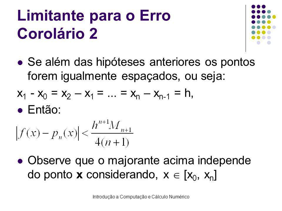 Introdução a Computação e Cálculo Numérico Limitante para o Erro Corolário 2 Se além das hipóteses anteriores os pontos forem igualmente espaçados, ou seja: x 1 - x 0 = x 2 – x 1 =...