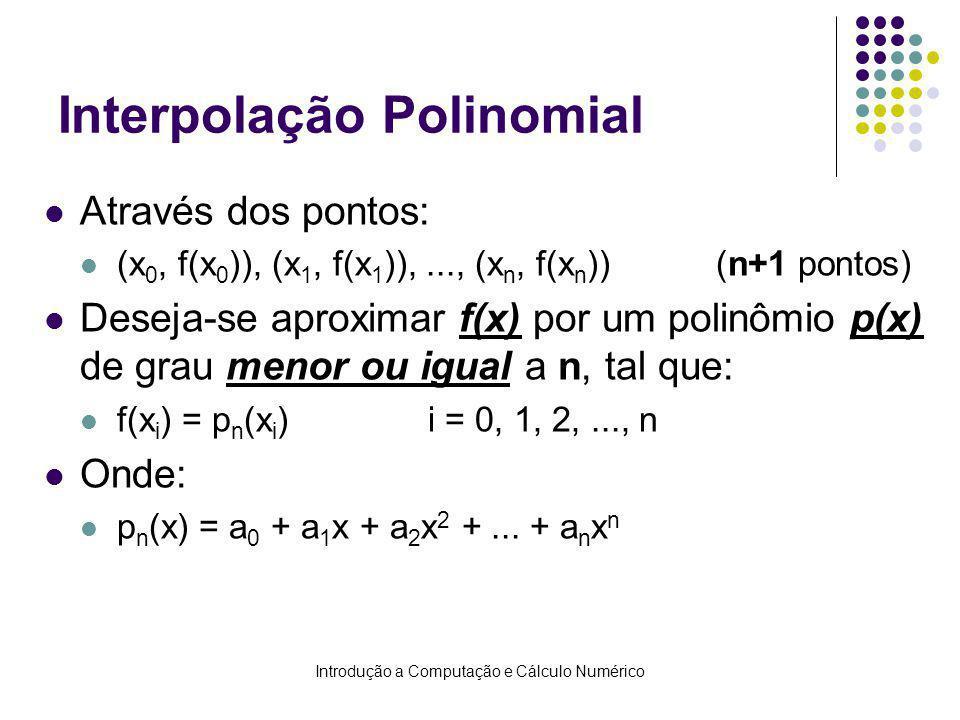 Introdução a Computação e Cálculo Numérico Interpolação Polinomial Através dos pontos: (x 0, f(x 0 )), (x 1, f(x 1 )),..., (x n, f(x n ))(n+1 pontos) Deseja-se aproximar f(x) por um polinômio p(x) de grau menor ou igual a n, tal que: f(x i ) = p n (x i )i = 0, 1, 2,..., n Onde: p n (x) = a 0 + a 1 x + a 2 x 2 +...