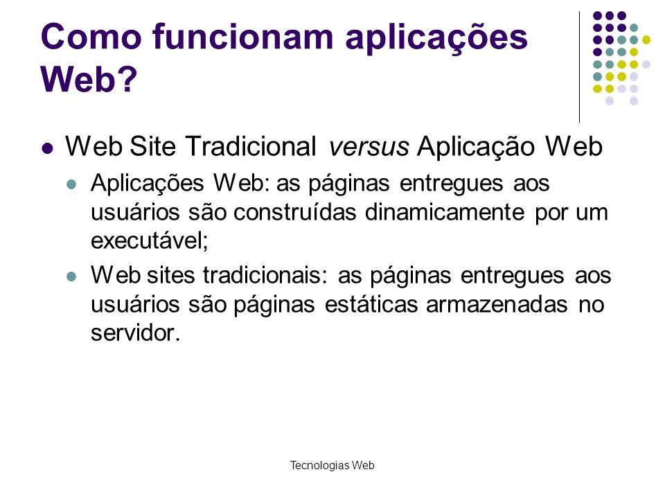 Tecnologias Web Como funcionam aplicações Web? Web Site Tradicional versus Aplicação Web Aplicações Web: as páginas entregues aos usuários são constru